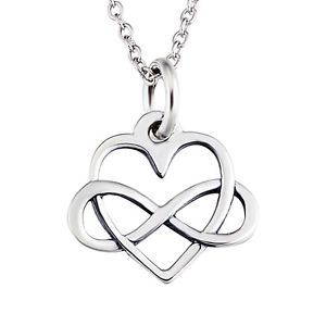 925-Sterling-Silver-Infinity-Heart-Interwoven-Love-Charm-Pendent-Necklace-Gift