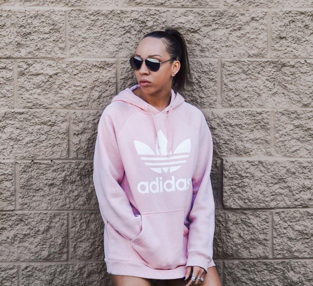 Adidas Sweatshirt Pink And Thigh High Boots Fashion And Style Blog Fashionnikki Com Casual Outfits Sweatshirt Fashion Pink Sweatshirt Outfit [ 934 x 1024 Pixel ]