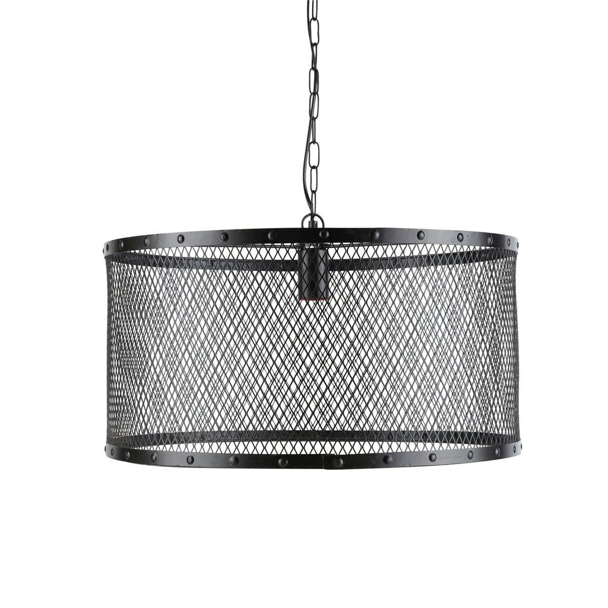 Suspension indus en métal grillagé noire D 55 cm | luminaires ...