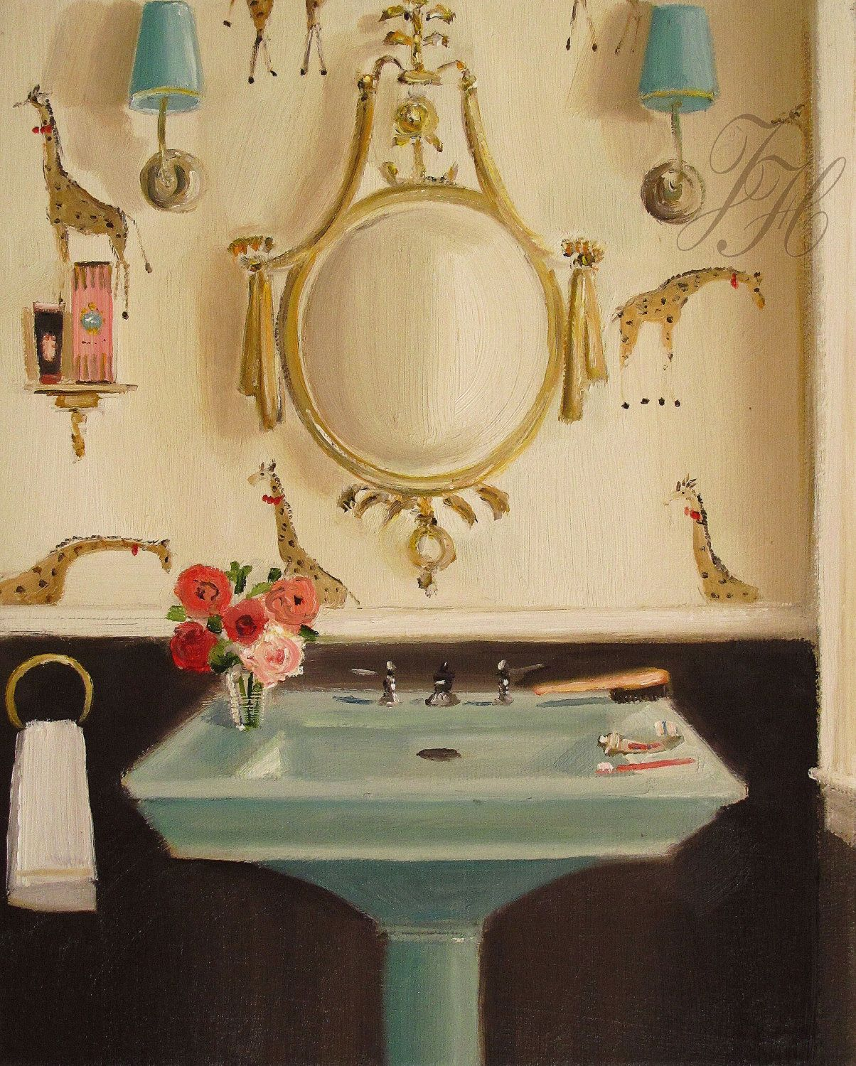 Giraffes, by Janet Hill. Can my bathroom look like this, please ...