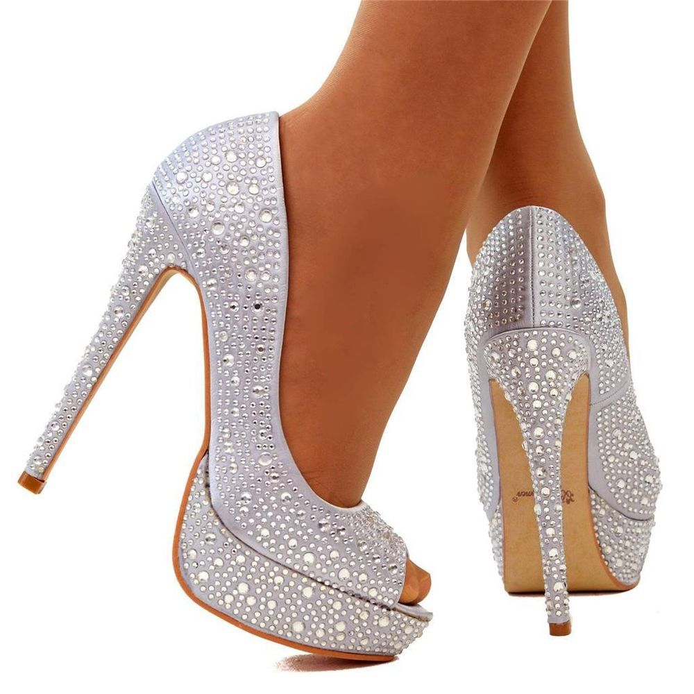 b7e5925f4e1 Womens Size UK 5 Silver Sparkly Diamante Platform Pumps High Heel Party  Shoes