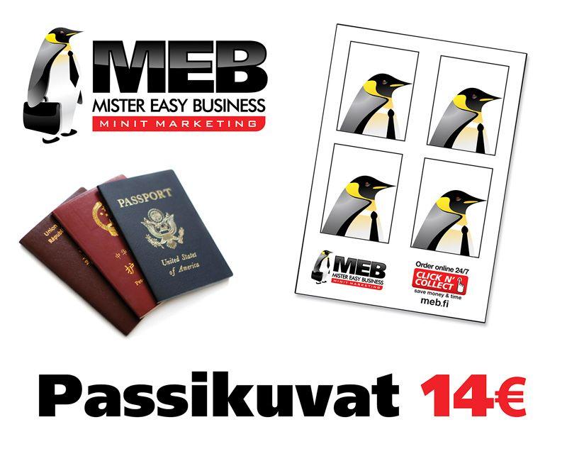 Passikuvat, 14 €. Paperiset viisumikuvat tai passikuvien sähköinen lähetys suoraan lupaviranomaisille. Kuvat voimassa 6 kuukautta. Norm. 22 €.  MEB PRINT, E-TASO