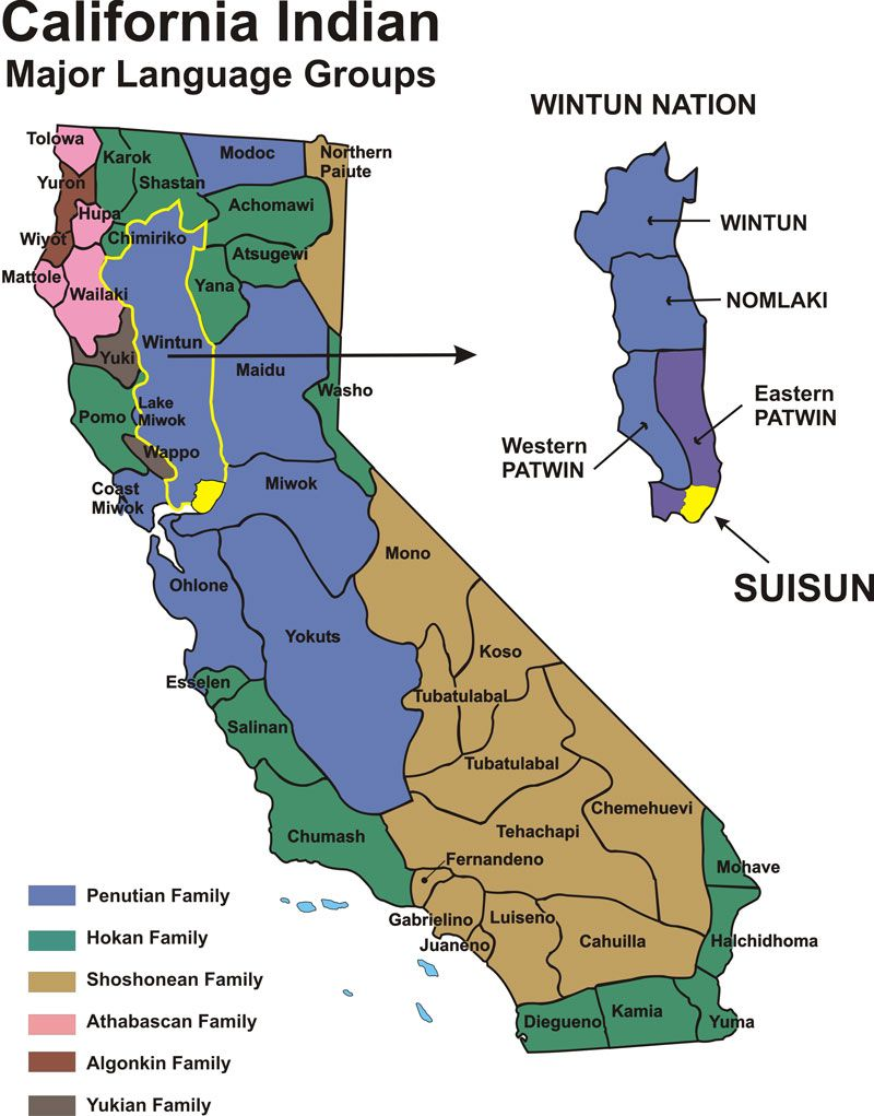 California Indians Historical Map Fairfield Suisun California