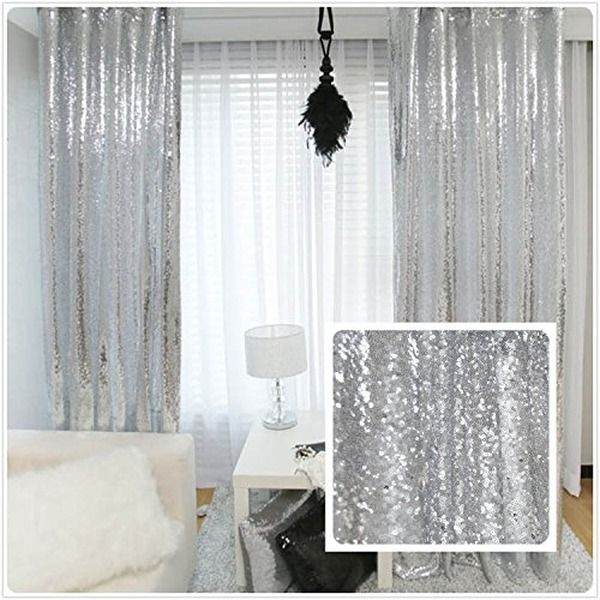 trlyc Pailletten Silber Vorhang, wählen Sie Ihre Größe, Sparkly - vorhange wohnzimmer grau