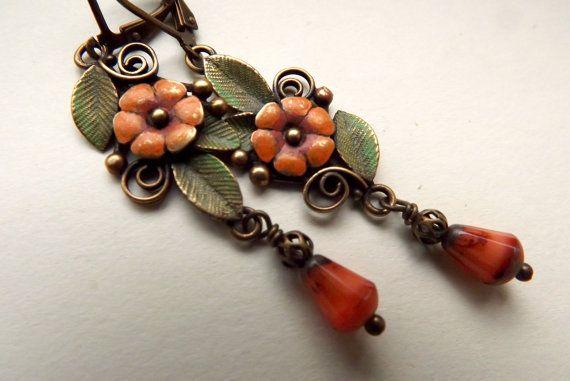 Handpainted dangle earrings orange flowers fall colors by lilruby