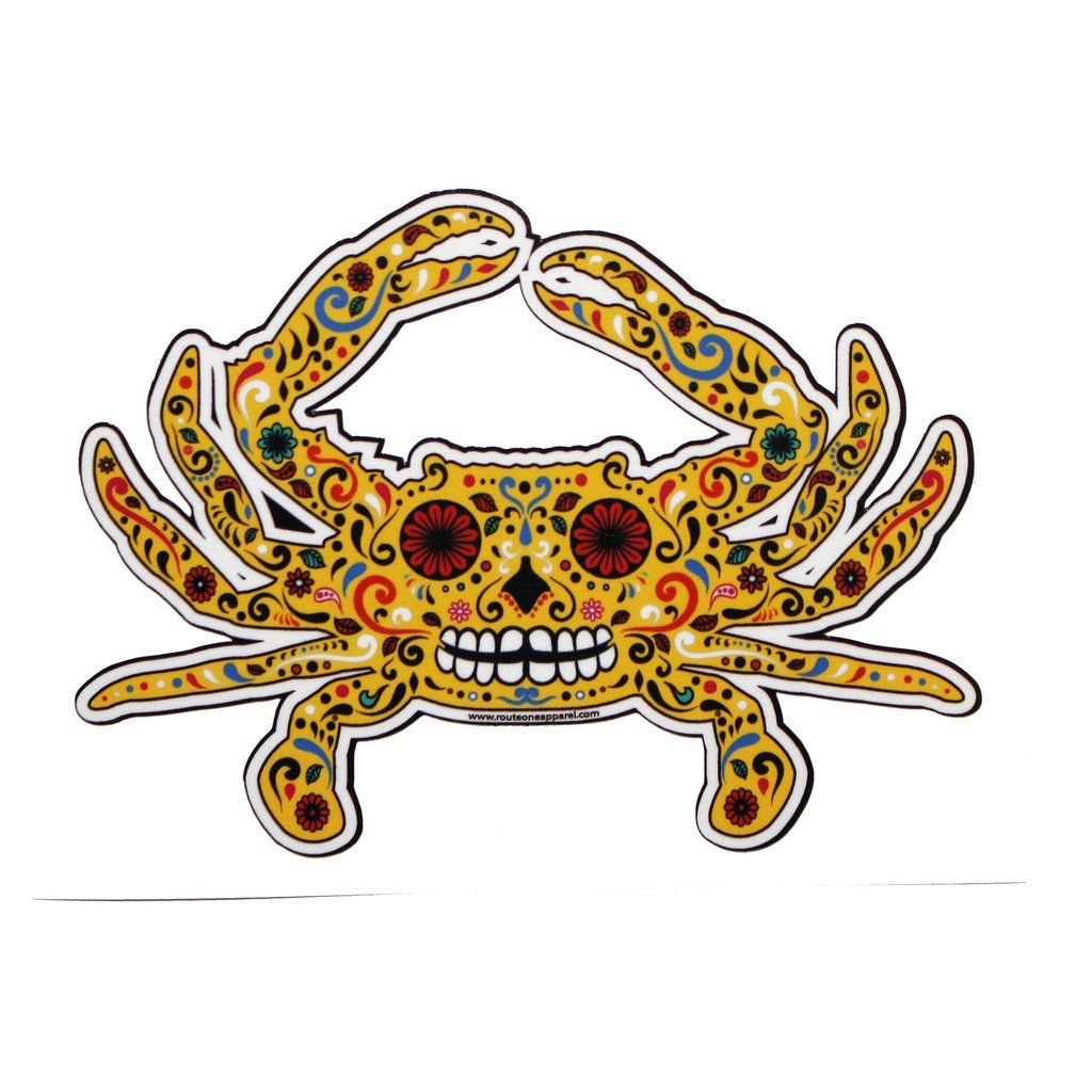 Sugar skull crab yellow sticker