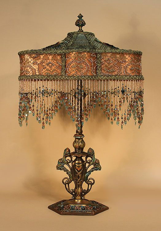 Victorian Table Lamp Victorian Lamps Antique Lamp Shades Beaded Lamps