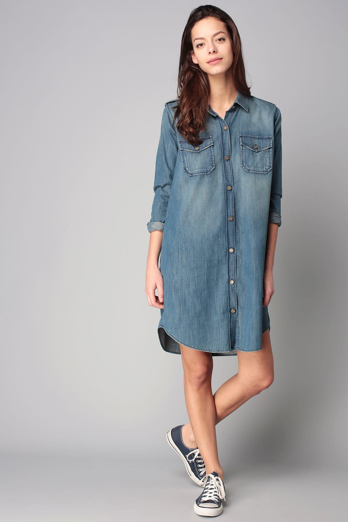 0848805c84bd7e Robe chemise denim oversize Clara   wishlist   Dresses, Shirts et Robe