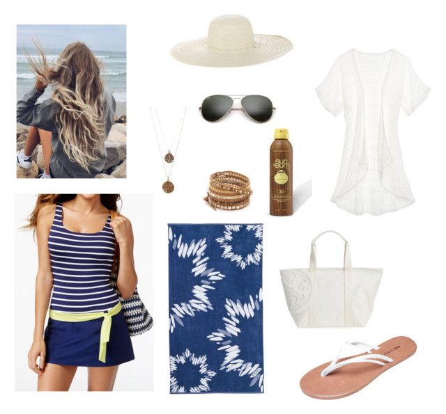 """""""{Day 3: Beach!}"""" by onie-sanna ❤ liked on Polyvore featuring Victoria's Secret, Wet Seal, Jag, Ray-Ban, Sferra, Tory Burch, Sun Bum, Jennifer Ouellette, Chan Luu and Bee Charming"""