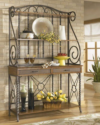 Bakers Rack With Images Bakers Rack Decorating Bakers Rack