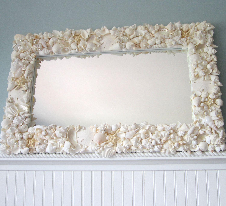 Decor nautical shell mirrors w sea glass starfish amp pearls blue - Beach Decor White Seashell Mirror Nautical Shell Mirror White Rectangular W Starfish