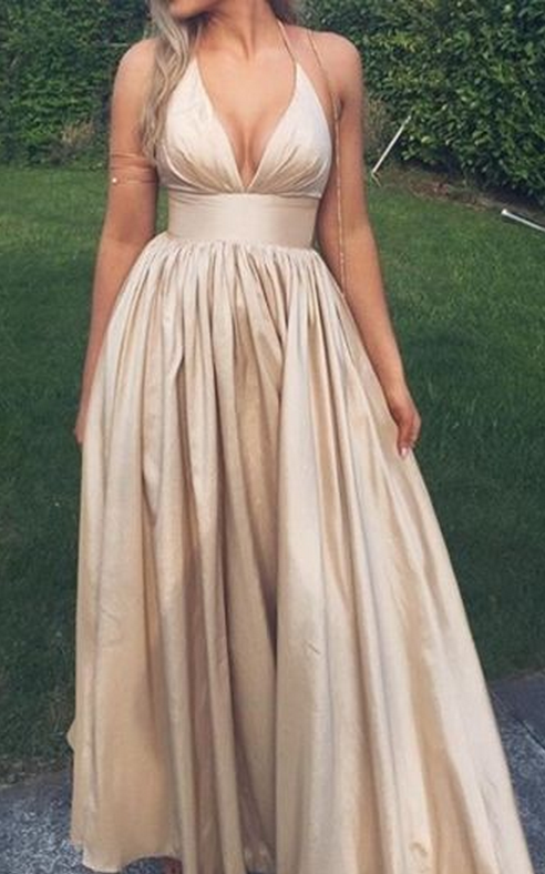 Luxurious Satin Prom Dresses Deep V Prom Dressessexy Long Prom