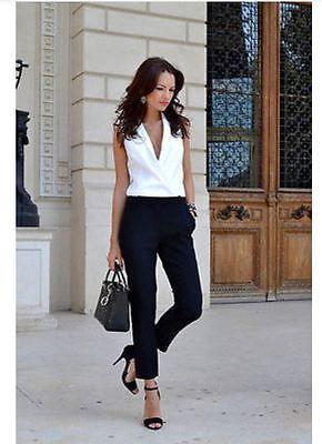 Zara 2014 Black White Lapel Two tone Combination Crepe Tailored