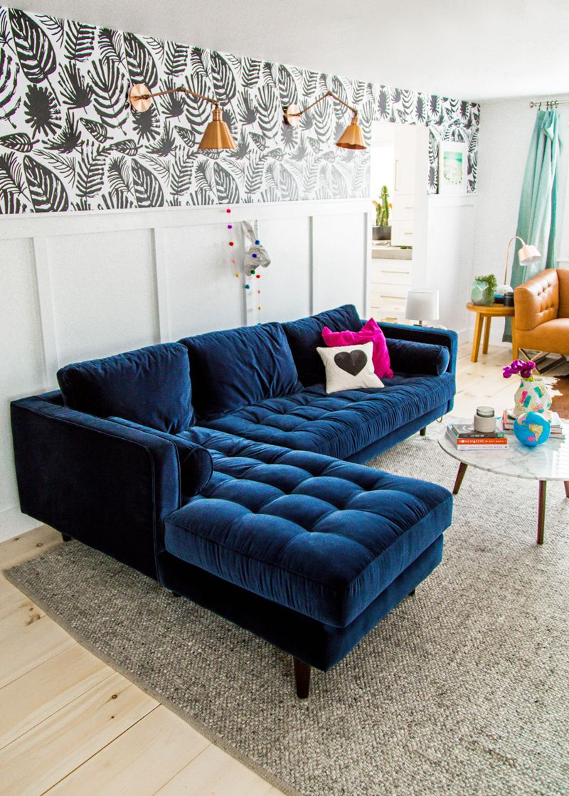 Sofas Dark Blue Pottery Barn Sofa Slipcovers 25 Stunning Living Rooms With Velvet Architectural Tufted Room Via A Subtle Revelry Navy Home Design