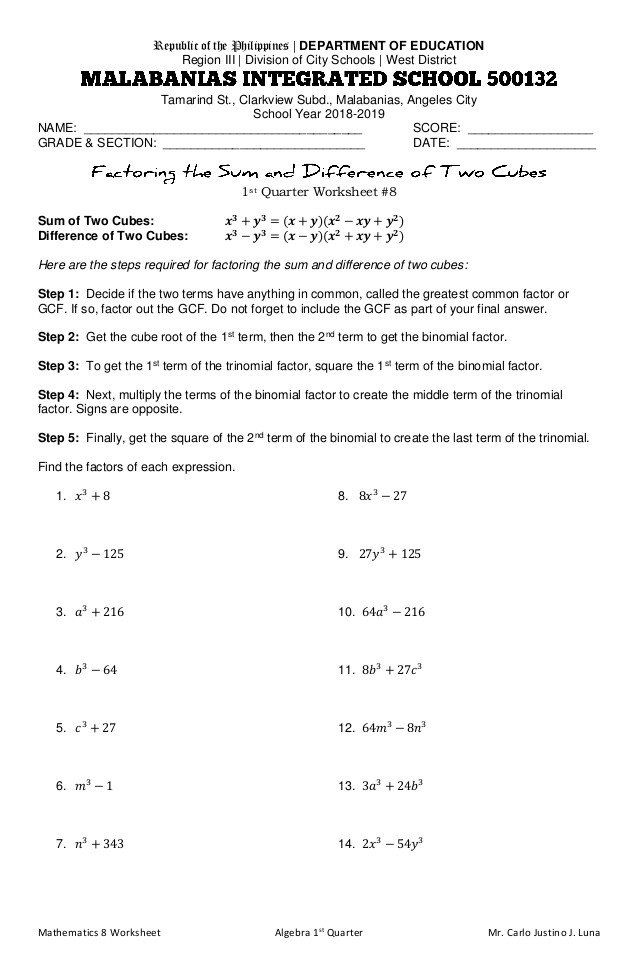 Factoring Greatest Common Factor Worksheet Factoring the ...