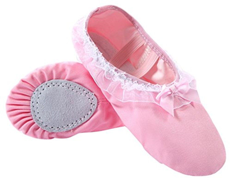 5accdc1205d5d Happy Cherry – Chaussures de Ballet Ballerines Demi-pointes en Toile  Dentelle avec noeudpapillon pour