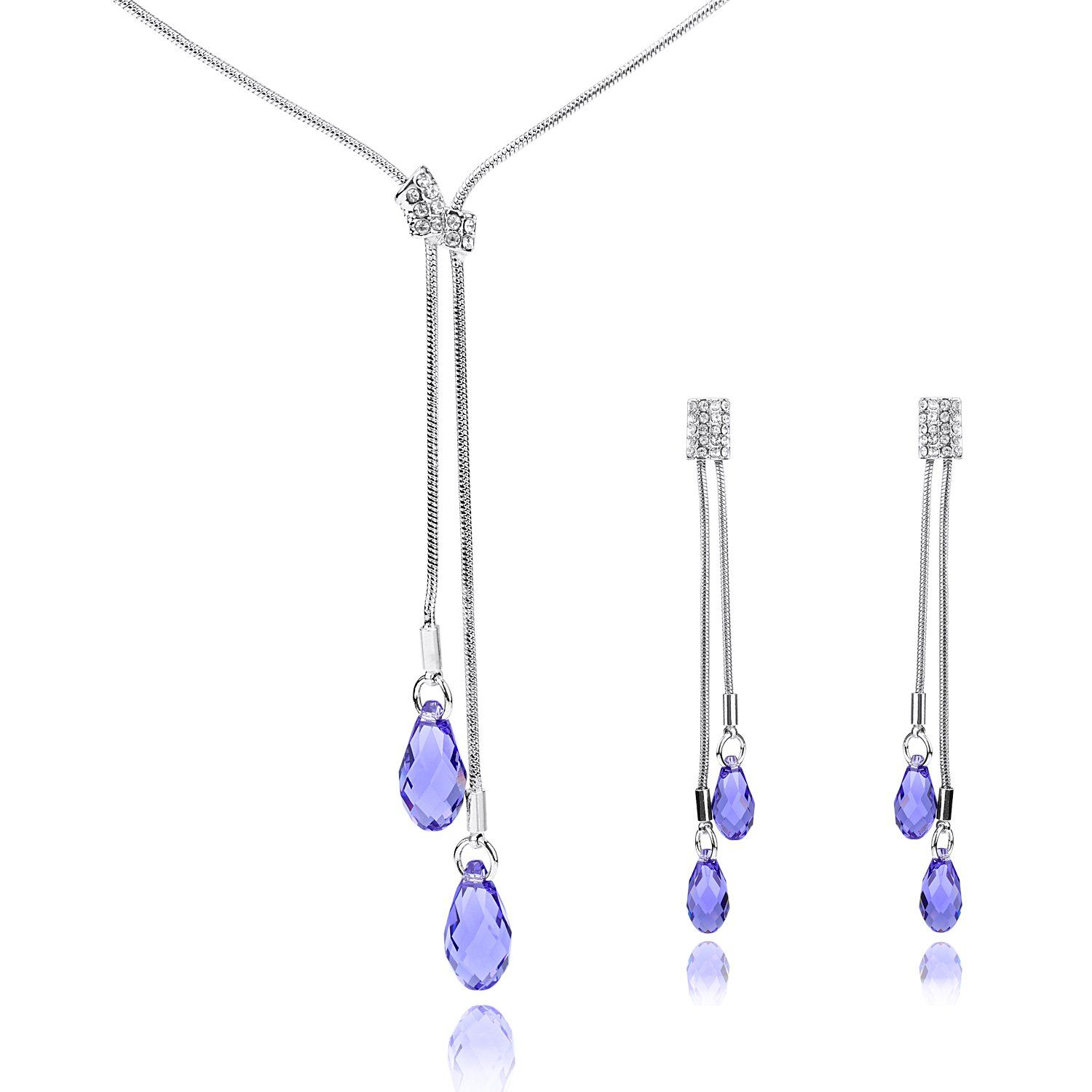 Mondaynoon Tender Austrian Crystal Teardrop Jewelry Women S Necklace And Earring Sets Tanzanite