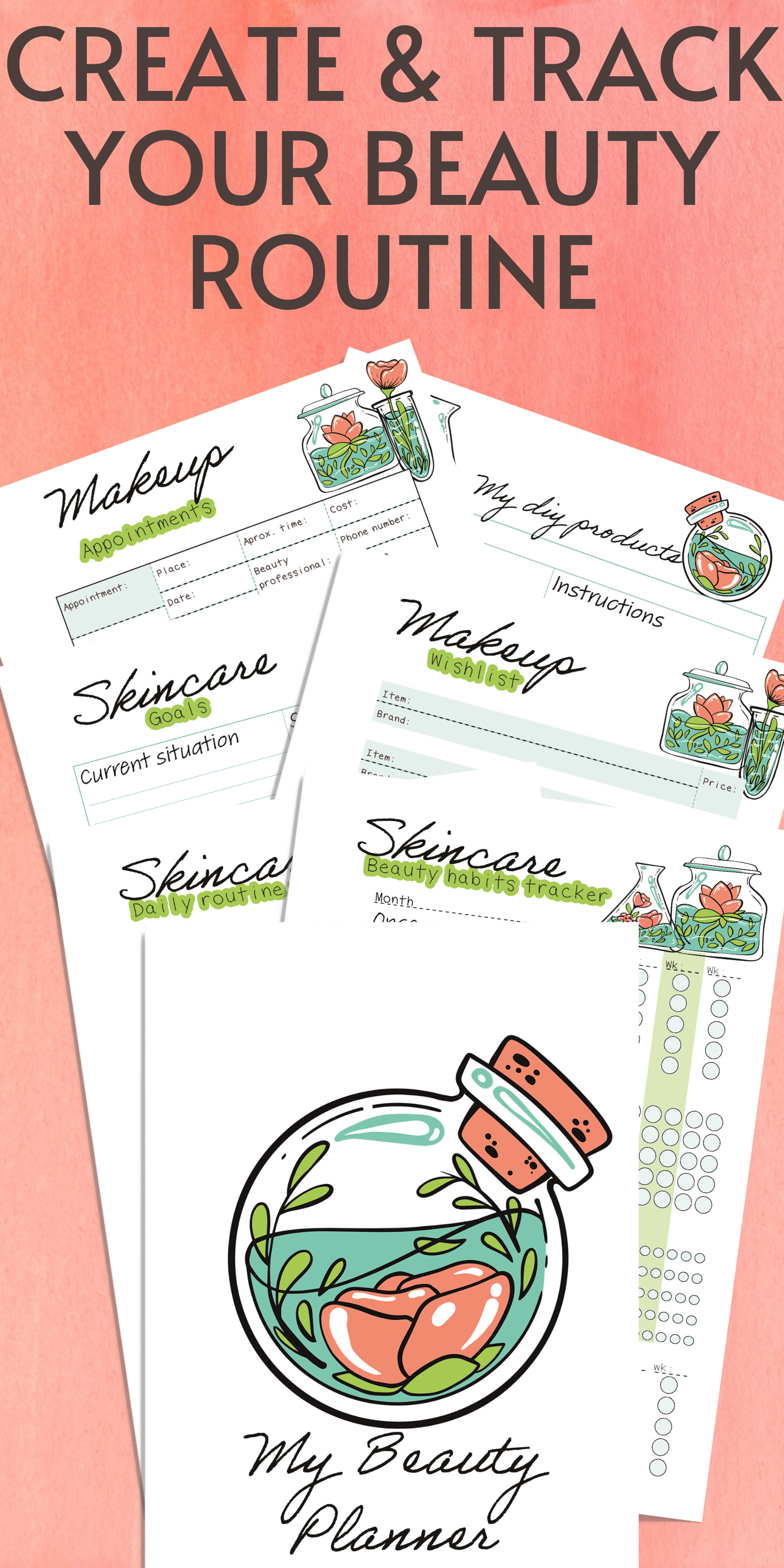 Beauty Planner Printable  Etsy in 8  Beauty routines, Skin
