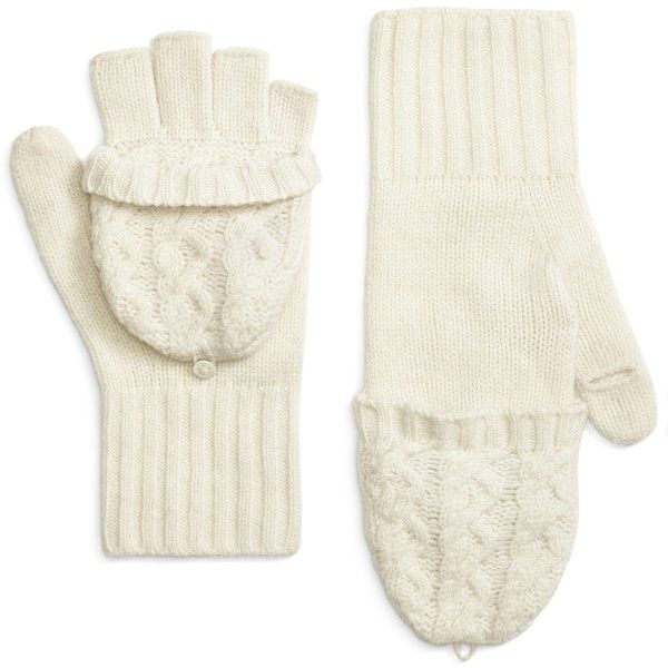 Brooks Brothers Cable Knit Mittens (1.120 UYU) ❤ liked on Polyvore ...
