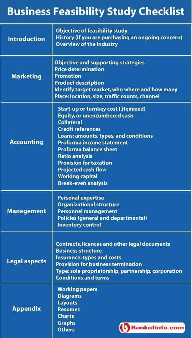 Business feasibility study checklist #businessdegree Work