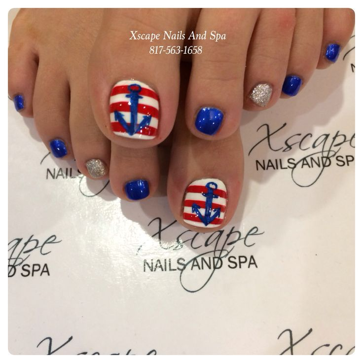 Pretty pedicure: Nautical theme: Red & White stripes with a Blue ...