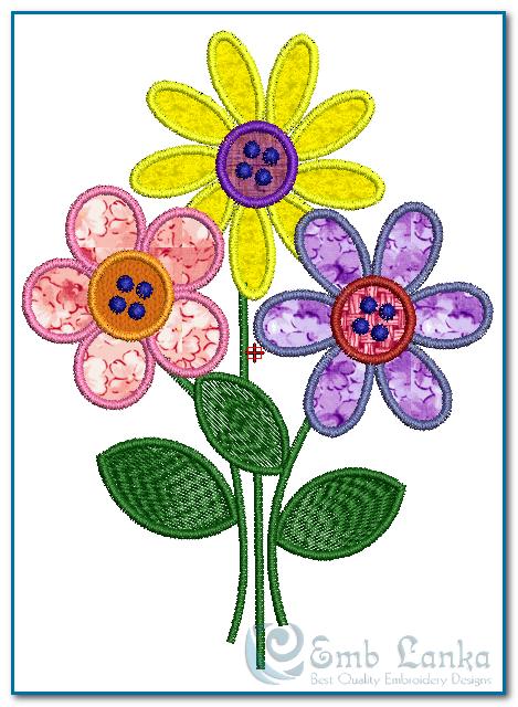 3 Applique Flowers Embroidery Design | Emblanka com | Free
