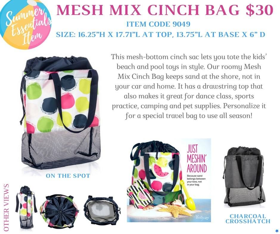 5423e6b578f6 Thirty-One Summer Essential Mesh Mix Cinch Bag - New Products for ...