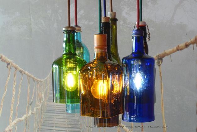Hängelampen - Flaschenlampe BottleMix - ein Designerstück von optiktrick bei DaWanda