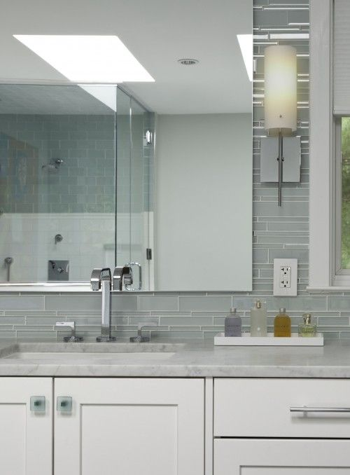 bathrooms gray glass tiles linear backsplash white bathroom
