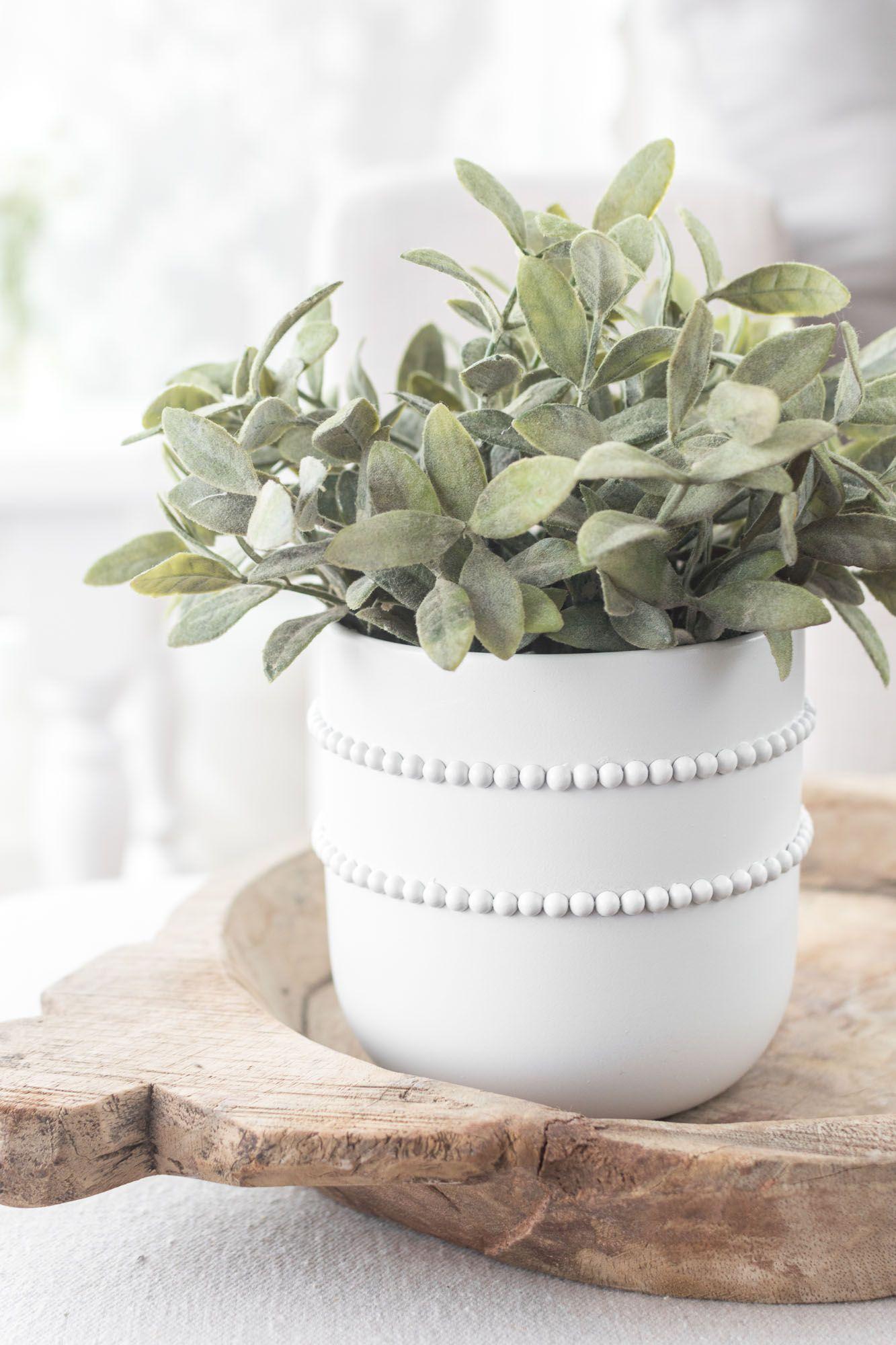 Simple Diy Beaded Pot Plant Pot Diy Diy Flower Pots Diy Ceramic