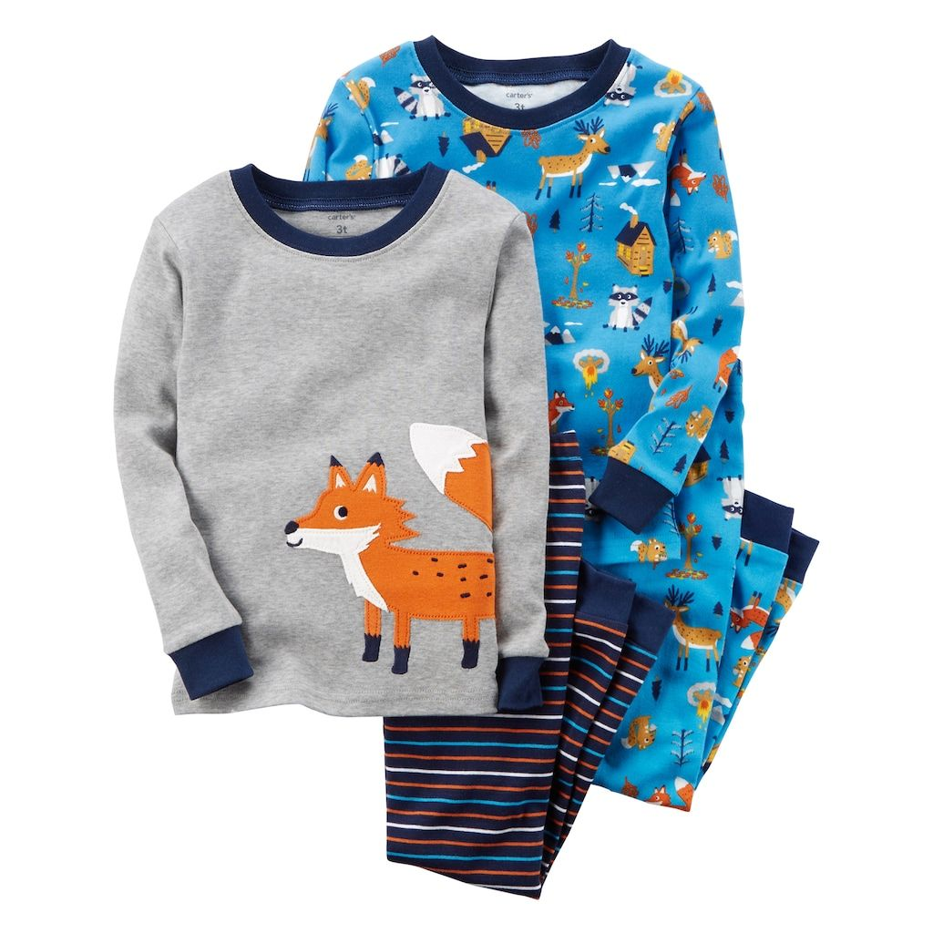 ff779bc253a9 Toddler Boy Carter s 4-pc. Animal Tops   Pants Pajama Set