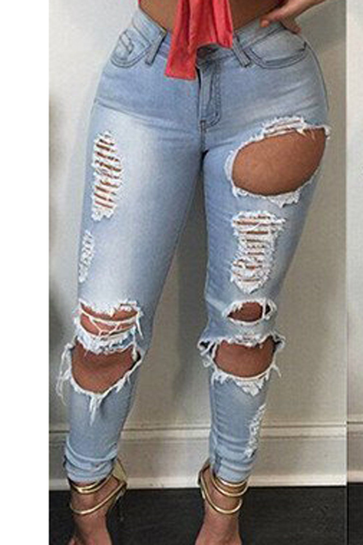 b2e8eb6e2abec High Waist Cut Out Rough Holes Pocket Long Skinny Jeans in 2019 ...