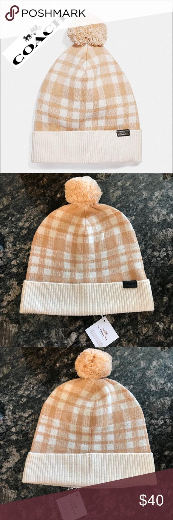 52912302a36 ❄️FIRM❄ Coach Pom Pom winter hat - caramel plaid New with tags 100%  Authentic Coach Pom Pom hat in caramel plaid Wool blend (see tag in pic)  Coach ...