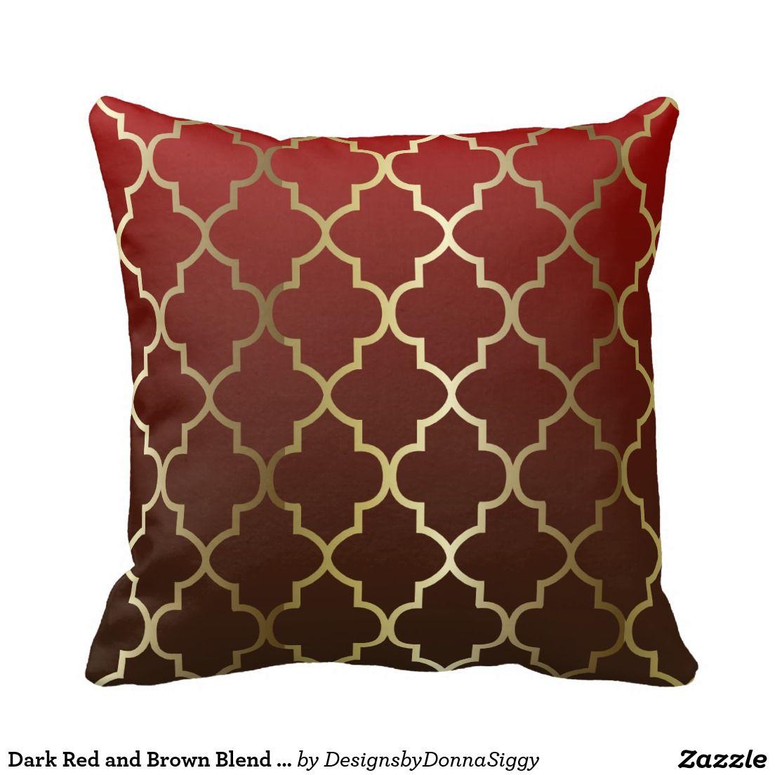 Dark Red And Brown Blend Gold Quatrefoil Pattern Throw Pillow