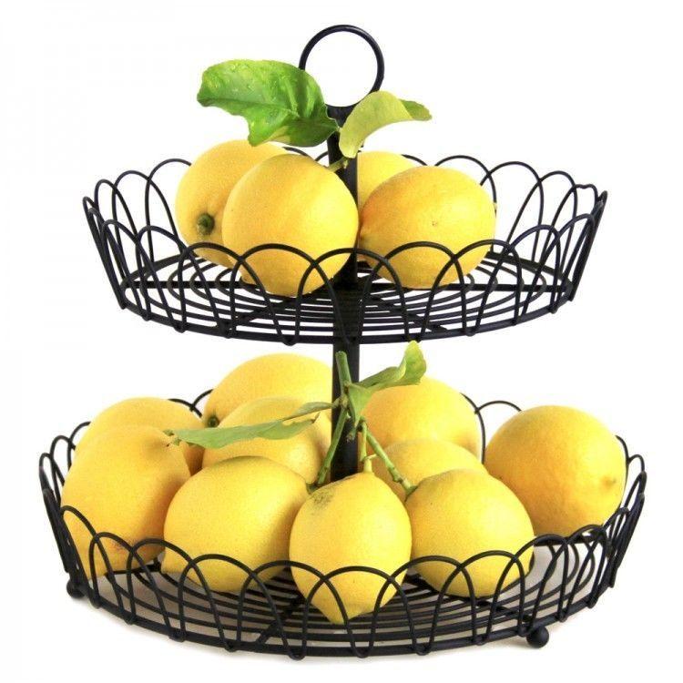 Metal Fruit Basket 2 Tier Kitchen Vegetable Orange Storage