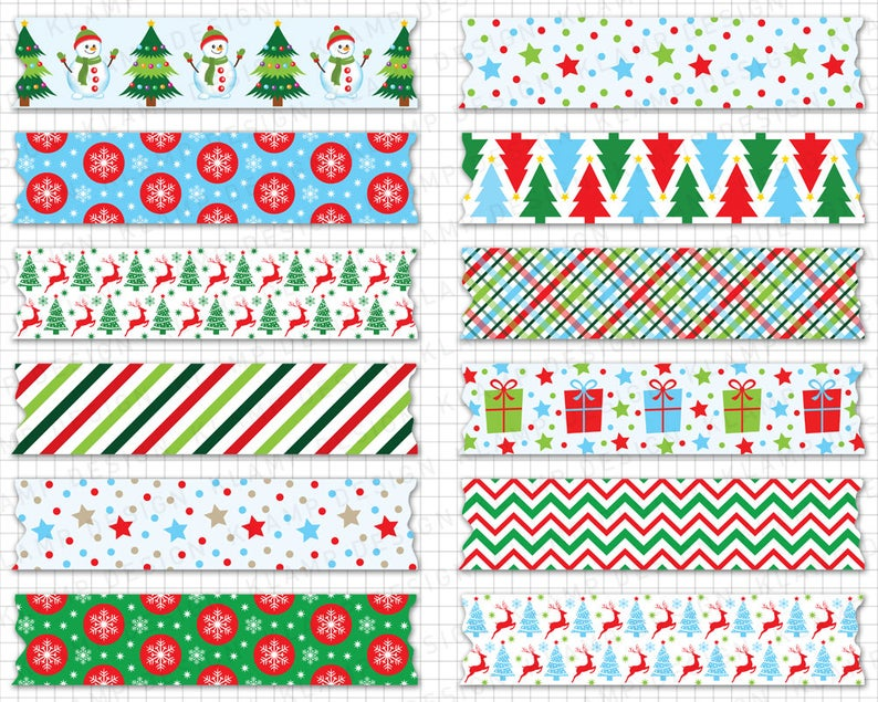 Digital Washi Tape Digital Christmas Washi Tape Etsy Holiday Clipart Christmas Graphics Printable Scrapbook Paper