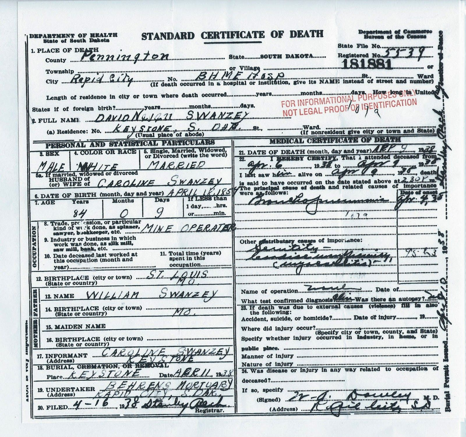 Carrie Ingall\'s husband, his death certificate. | Laura Ingalls ...
