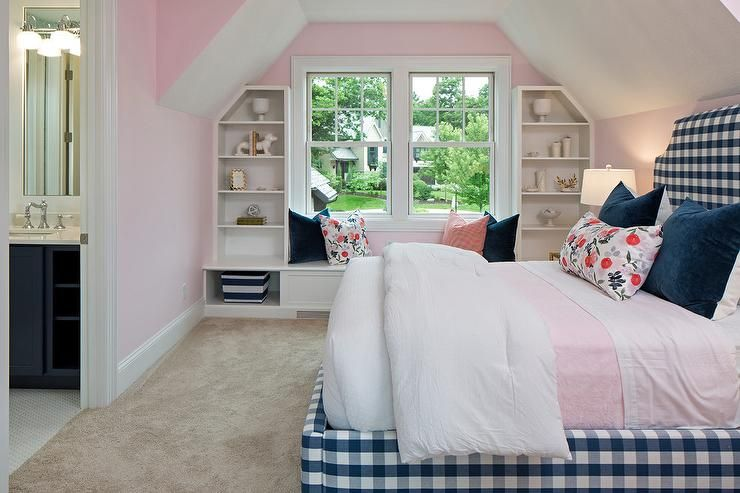Carpeted Pink And Blue Girl S Bedroom Boasts A White Built In Window Seat Topped With Assorted Blue And Pink Coastal Bedrooms Bedroom Design Girls Blue Bedroom