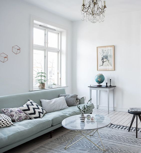 Light Filled Room With A Mint Green Sofa In 2019 Living