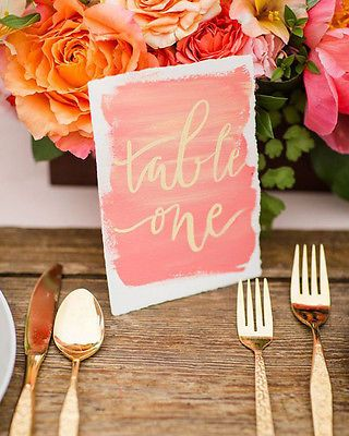 Watercolour and calligraphy table numbers by The Weekend Type. Photo by Katelyn James Photography from Grey Likes Weddings (via eBay).