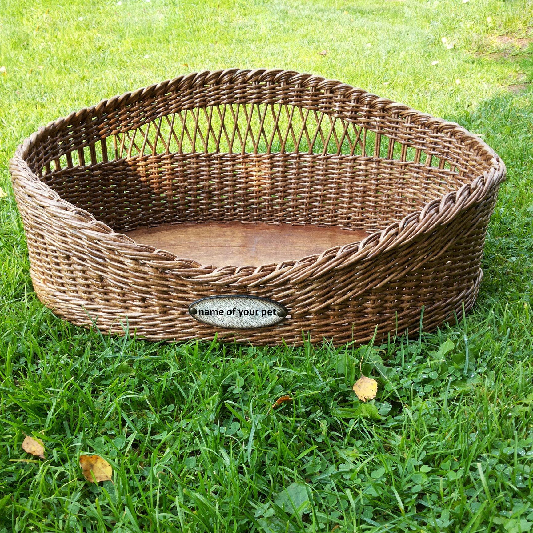 Personalized Wicker dog bed pet basket cat furniture Pet