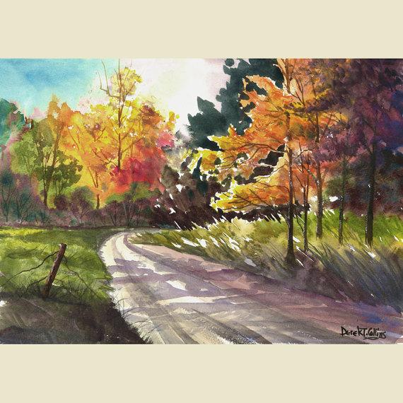 Paisaje Pintura Acuarela Grabado Un Camino De Otono Estaciones Landscape Paintings Watercolor Landscape Paintings Landscape
