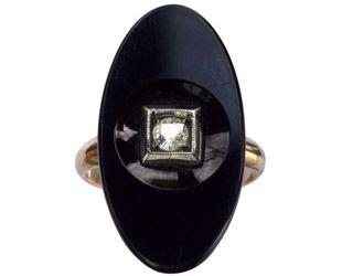 1920's Onyx and Diamond Ring / Erie Basin