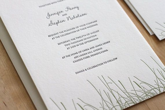 Rustic Letterpress Wedding Invitation By Moontreepress On Etsy