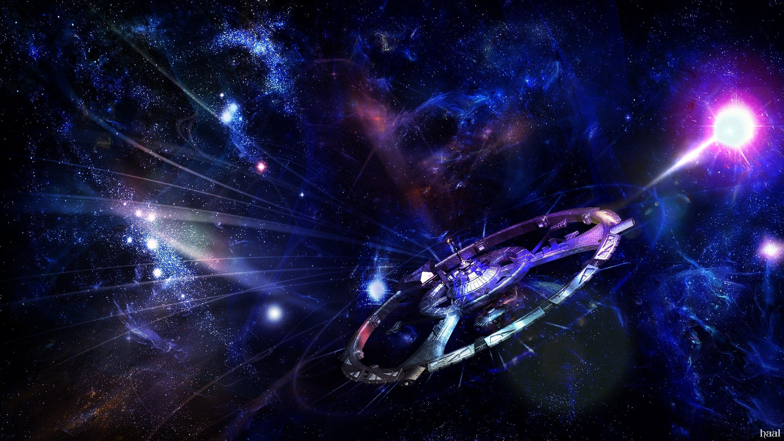 2560x1440 Spaceship Science Fiction Illustration Star Images Widescreen Wallpaper