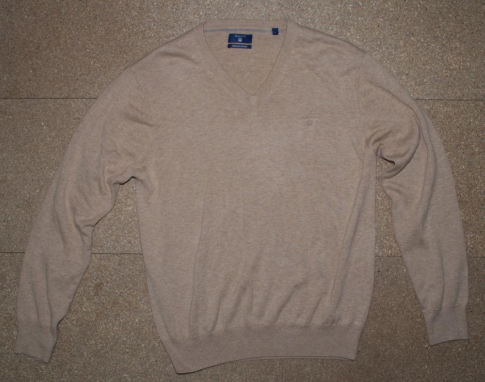 3ea5a77066ae48 Gant Men's Premium Cotton Jumper Sweater Beige V Neck   Large   VGC   eBay