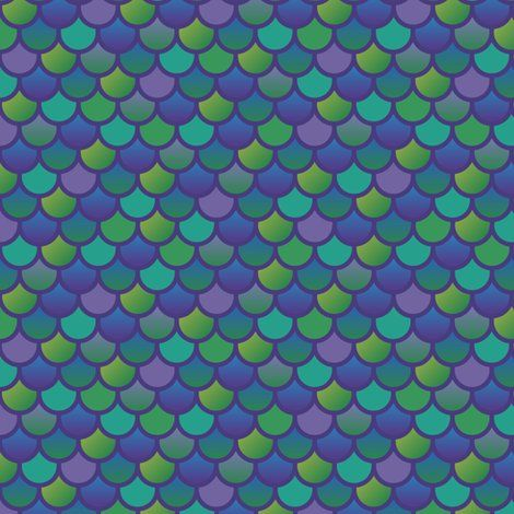 Mermaid fish scales in purple and green fabric by little for Fish scale wallpaper