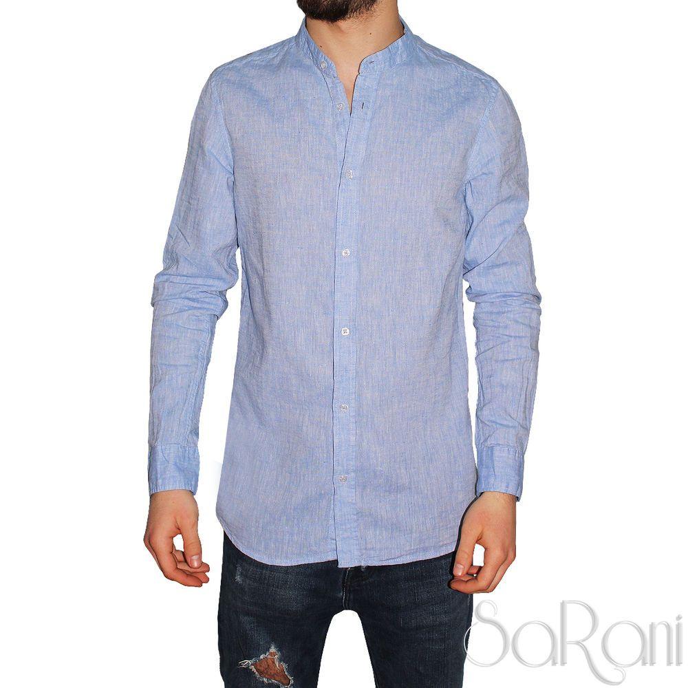 finest selection dd317 93a78 Camicia Uomo Casual Lino Celeste Manica Lunga Slim Fit Collo ...
