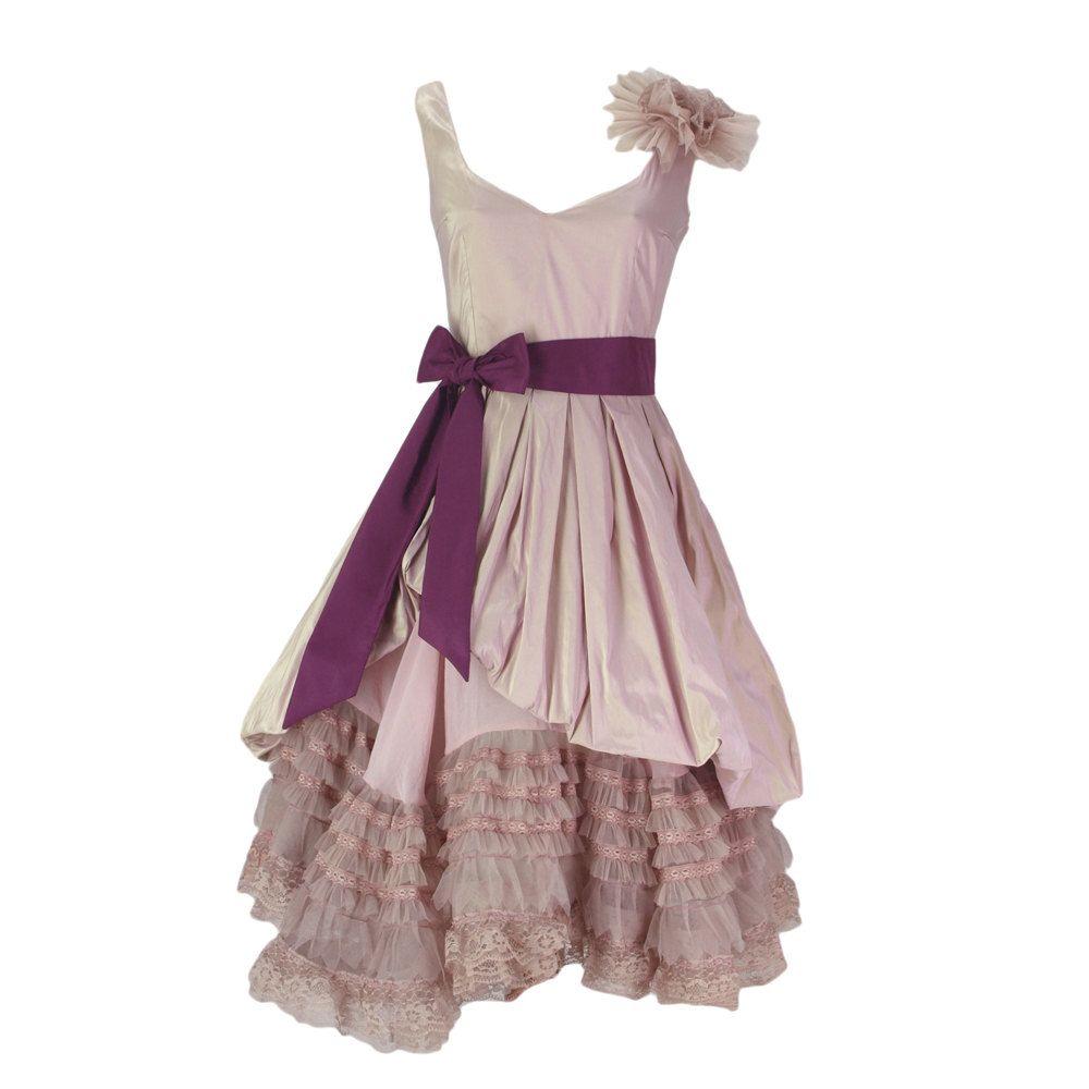 Bridesmaid wedding pale pink lace dress heart neckline via