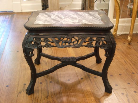 European Marble Top Carved Wood End Tables Furniture Teak Wood Chinese Carving Table With Inlaid Vintage Side Table Modern Classic Furniture Wood End Tables